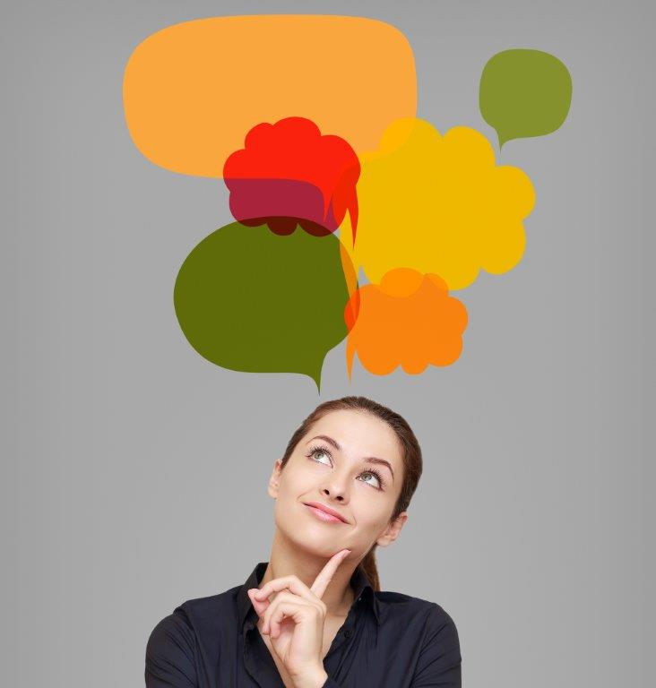 woman wondering with colorful speech bubbles